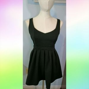 POOF COUTURE Black Ribbed Skater Dress sz M